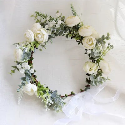 Silk White Flower Crown