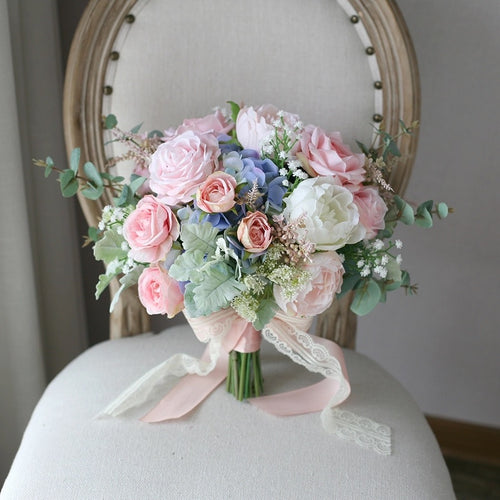 Pink & Dusty Blue Wedding Bouquet