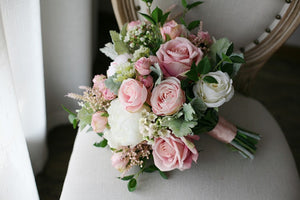 Mauve & Dusty Rose Silk Wedding Bouquet