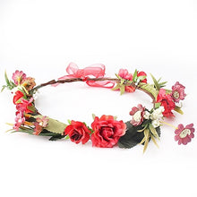 Load image into Gallery viewer, Red Flower Crown