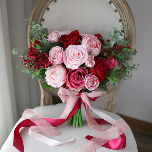 Romantic Burgundy, Red & Pink Wedding Bouquet