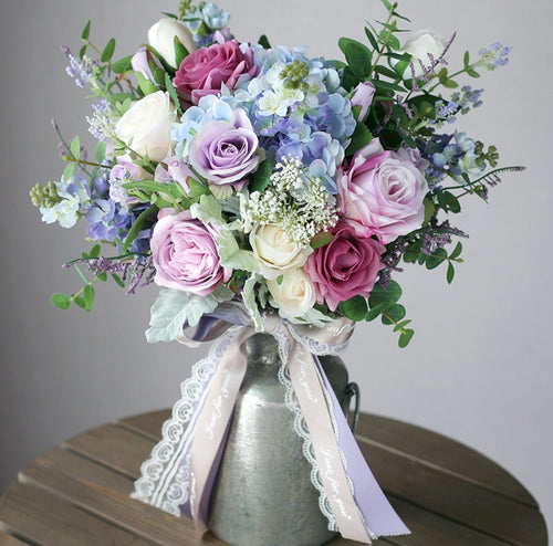 Wildflower Pastel Silk Wedding Bouquet