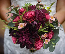 Load image into Gallery viewer, Eggplant Purple Wedding Bouquet