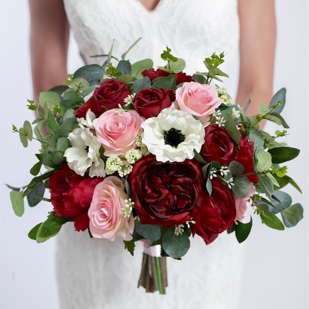 silk wedding bouquet anemones