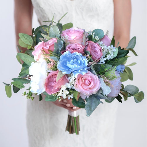 Dusty Blue & Blush Wedding Bouquet