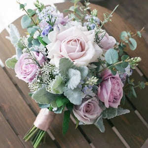 Spring Lavender Silk Wedding Bouquet