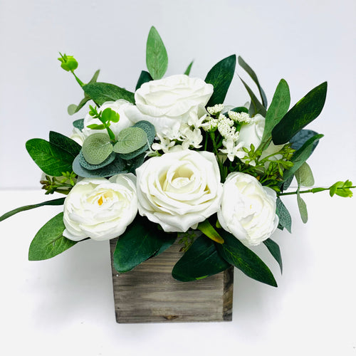 White & Greenery Silk Flower Centerpiece