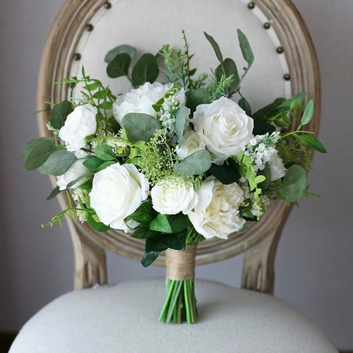 Greenery & White Silk Wedding Flowers