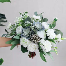 Load image into Gallery viewer, White & Greenery Succulent Bouquet