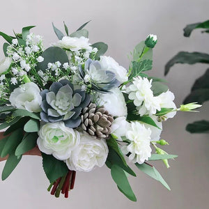 White & Greenery Succulent Bouquet