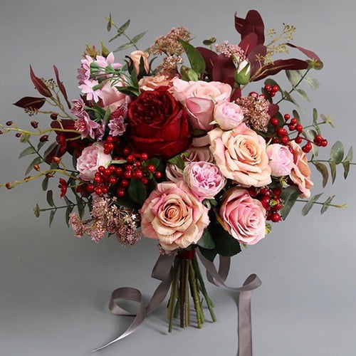 Burgundy Peach & Blush Bouquet