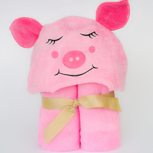 Bamboo Rayon Piggy Hooded Turkish Towel: Baby