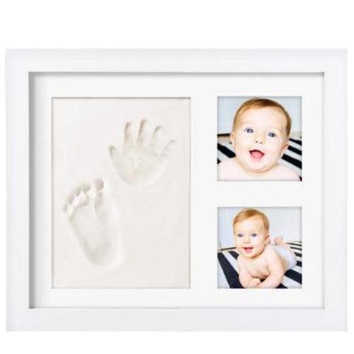 Baby hand/foot print kit: Baby Picture Frame (WHITE) & Non Toxic CLAY