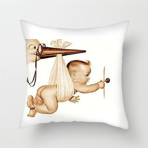 Stork + Baby Print Cushion Cover