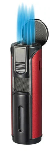 Visol Pentajet Red and Black Quintuple Torch Cigar Lighter - Crown Humidors