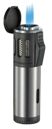 Visol Artemis Triple Flame Torch Lighter - Brushed Silver - Crown Humidors