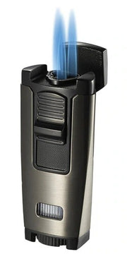 Visol Peak Gunmetal Dual Torch Flame Cigar Lighter - Crown Humidors