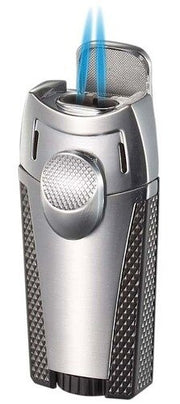 Visol Meru Dual Torch Cigar Lighter - Silver - Crown Humidors