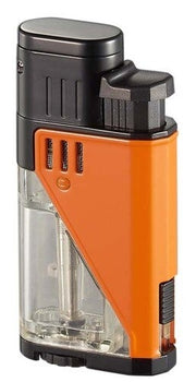 Visol Apollo Dual Torch Cigar Lighter - Clear W/ Orange - Crown Humidors