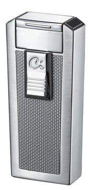 Caseti Tripolis White Carbon Fiber Triple Torch Flame Cigar Lighter - Crown Humidors