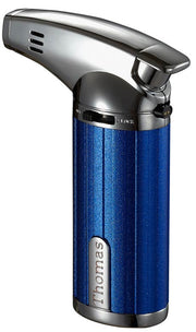 Visol Fiamma Blue and Chrome Mini Wind-resistant Jet Flame Table Cigar Lighter - Crown Humidors