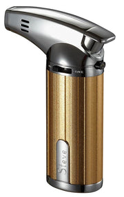 Visol Fiamma Gold and Chrome Wind-resistant Jet Flame Table Cigar Lighter - Crown Humidors