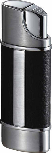 Visol Piccolo Leather and Brushed Chrome Wind-resistant Torch Flame Lighter - Crown Humidors