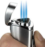 Visol Trulucks Silver Triple Torch Flame Cigar Lighter - Crown Humidors