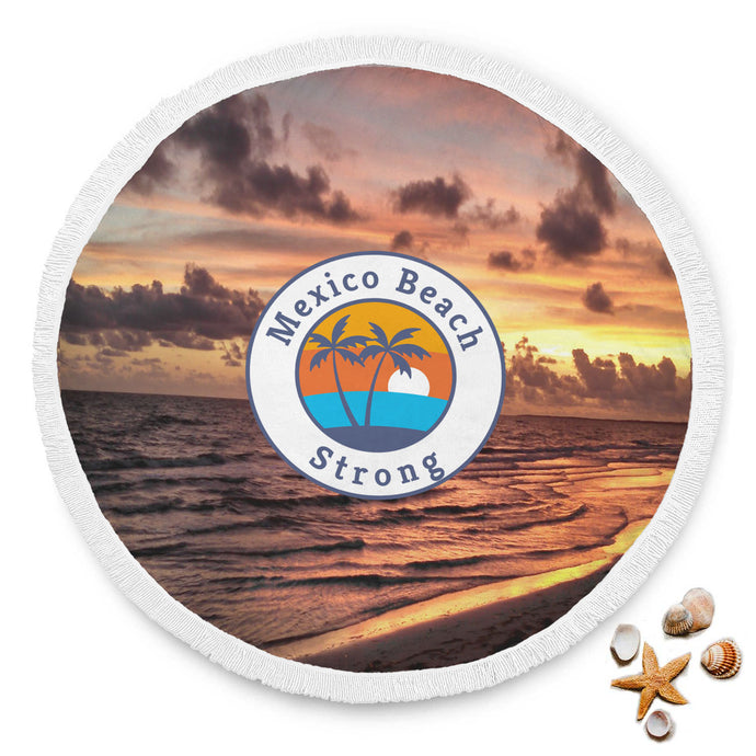 Beautiful Mexico Beach Strong Sunset Round Beach Blanket