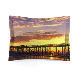 Mexico Beach Pier Microfiber Pillow - Sunset