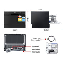 Load image into Gallery viewer, Devanti Benchtop Dishwasher 6 Place Setting Counter Bench Top Dish Washer Black