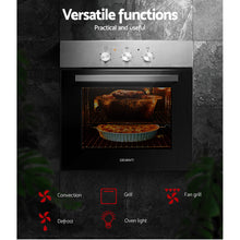 Load image into Gallery viewer, Devanti 60cm Electric Oven Built in Wall Forced Grill Stainless Steel Convection