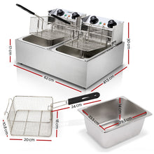 Load image into Gallery viewer, Devanti Commercial Electric Twin Deep Fryer - Silver