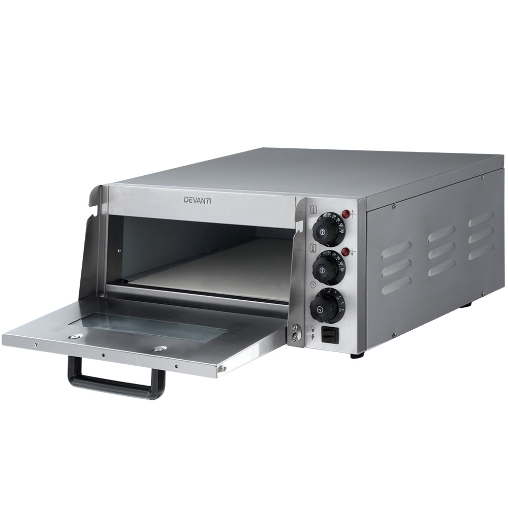Devanti 2000W Electric Commercial Pizza Oven Maker Single Deck Stainless Steel