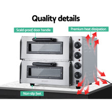 Load image into Gallery viewer, Devanti Electric 3KW Pizza Oven Maker Commercial Twin Deck Stone Stainless Steel