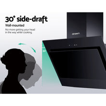 Load image into Gallery viewer, DEVANTI Rangehood 900mm Black Angled Side Draft Range Hood Canopy Glass 90cm