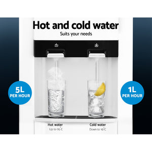 Devanti 22L Bench Top Water Cooler Dispenser Purifier Hot Cold Dual Tap with 2 Replacement Filters