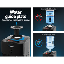 Load image into Gallery viewer, Devanti Water Cooler Dispenser Mains Bottle Stand Hot Cold Tap Office Black