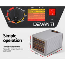 Load image into Gallery viewer, DEVANTI Stainless Steel Commercial Food Dehydrator with 8 Trays