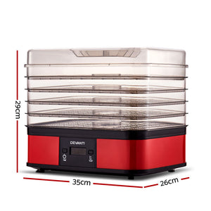 Devanti Food Dehydrator with 5 Trays - Red