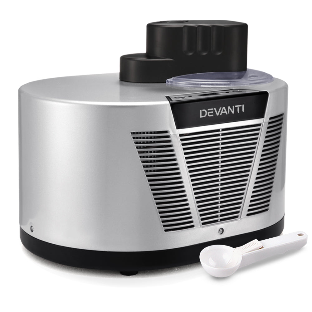 Devanti Self Cooling Ice Cream Maker - Silver