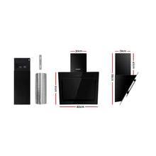Load image into Gallery viewer, DEVANTI Rangehood 600mm Black Angled Side Draft Range Hood Canopy Glass 60cm