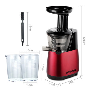 Devanti Cold Press Food Processor Juicer - Red