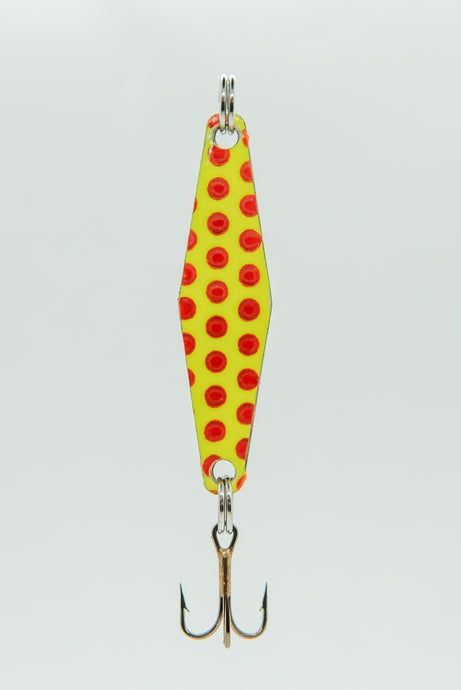 Yellow Red Dot - Curly's Fishing Lures