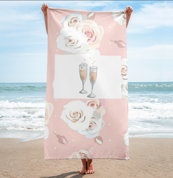 Floral Champagne Beach Towels Towel - Bubbly & Co.