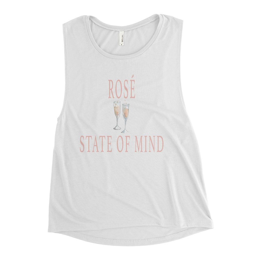 Rosé State of Mind Ladies' Muscle Tank T-Shirt - Bubbly & Co.
