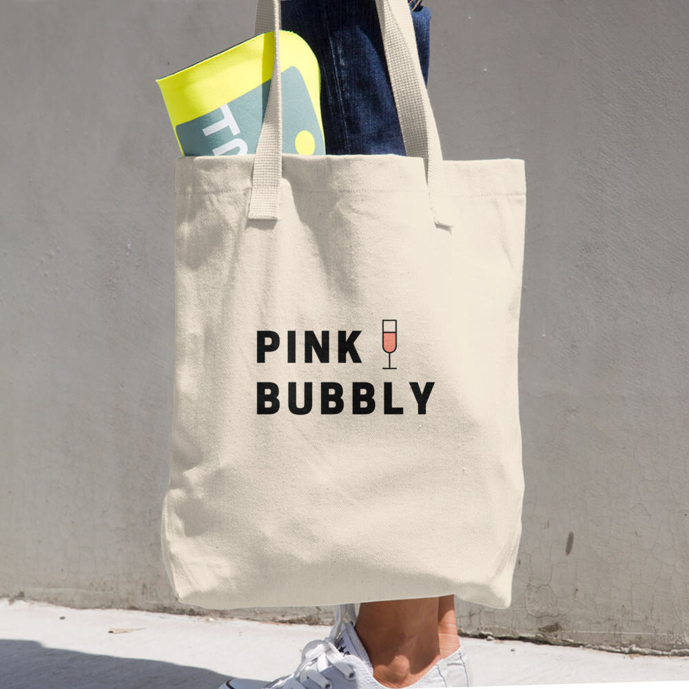Pink Bubbly Cotton Tote Bag - Bubbly & Co.