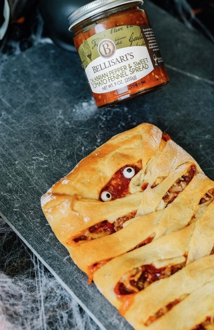 Mummy Stromboli with Bellisari's Calabrian Pepper and Sweet Tomato Fennel Spread.