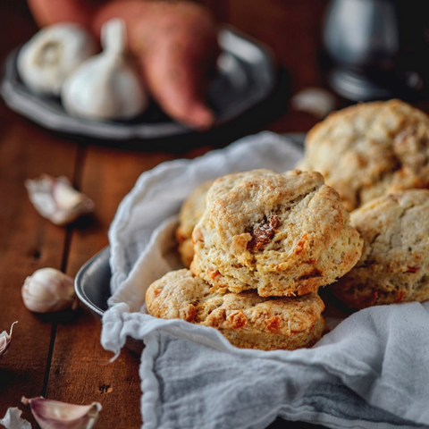 Sweet Potato Garlic Biscuits with Fig Jam Butter