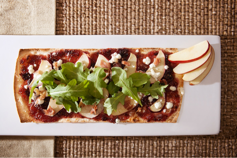 Goat Cheese, Prosciutto, Arugula & Apple Flatbread